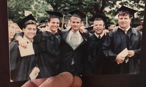 College graduation picture from 1990 on the lawn at UVA